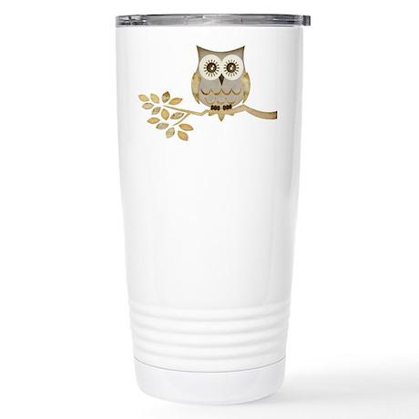 Wide Eyes Owl in Tree Stainless Steel Travel Mug