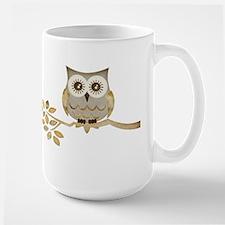 Wide Eyes Owl in Tree Large Mug