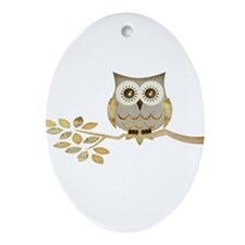 Wide Eyes Owl in Tree Ornament (Oval)