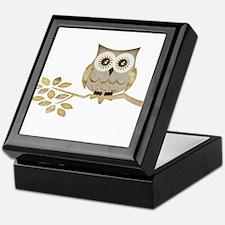 Wide Eyes Owl in Tree Keepsake Box