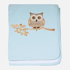 Wide Eyes Owl in Tree baby blanket