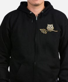 Wide Eyes Owl in Tree Zip Hoodie