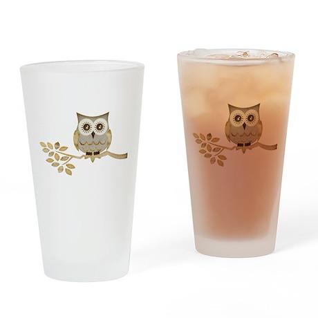 Wide Eyes Owl in Tree Drinking Glass