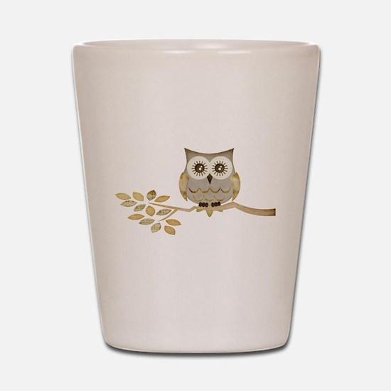 Wide Eyes Owl in Tree Shot Glass