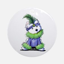 Mardi Gras Westie Ornament (Round)