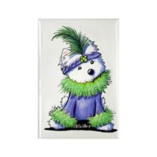 Mardi Gras Westie Rectangle Magnet (10 pack)