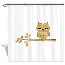 Sleepy Owl in Tree Shower Curtain