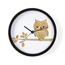 Sleepy Owl in Tree Wall Clock