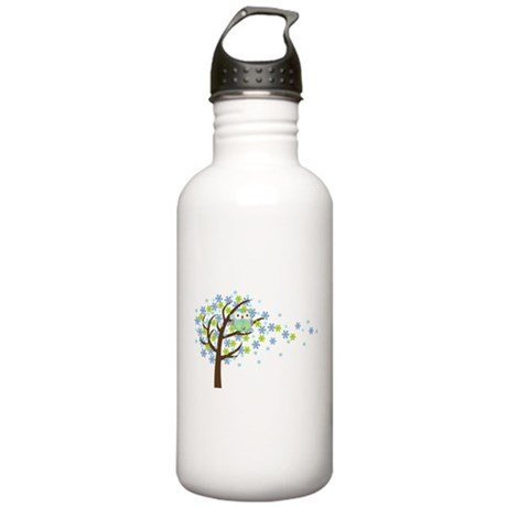 Blue Windy Tree Owl Stainless Water Bottle 1.0L