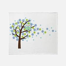 Blue Windy Tree Owl Throw Blanket
