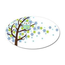 Blue Windy Tree Owl 22x14 Oval Wall Peel