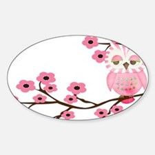 Cherry Blossom Owl Sticker (Oval)