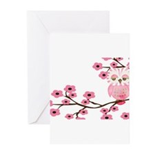 Cherry Blossom Owl Greeting Cards (Pk of 10)