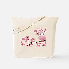 Cherry Blossom Owl Tote Bag