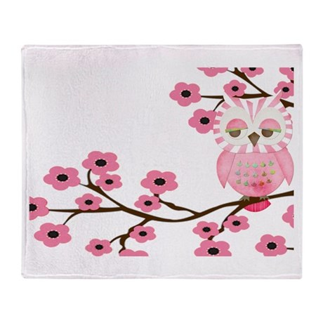 Cherry Blossom Owl Throw Blanket