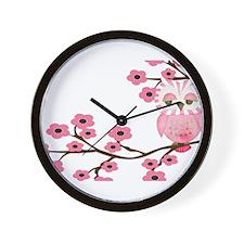Cherry Blossom Owl Wall Clock