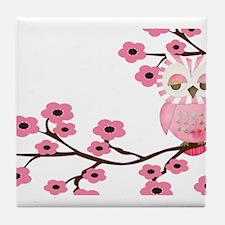 Cherry Blossom Owl Tile Coaster