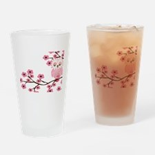 Cherry Blossom Owl Drinking Glass
