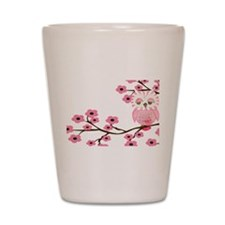 Cherry Blossom Owl Shot Glass