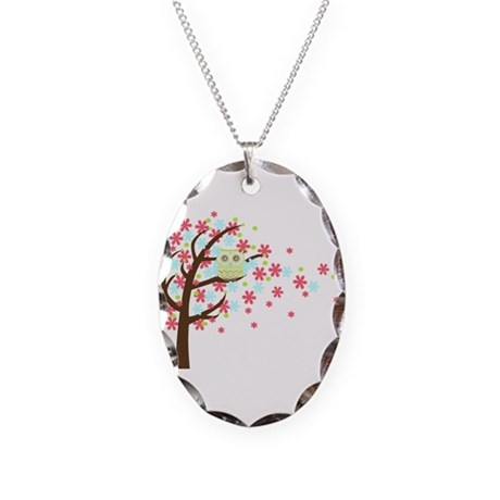 Pink Windy Tree Owl Necklace Oval Charm