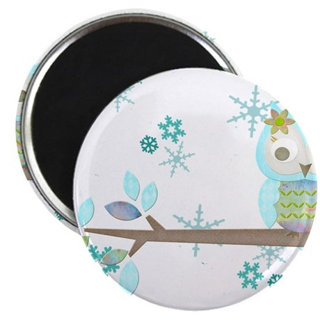"Winter Snowflake Owl in Tree 2.25"" Magnet (10 pack"