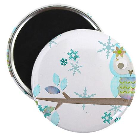 """Winter Snowflake Owl in Tree 2.25"""" Magnet (10 pack"""