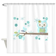Winter Snowflake Owl in Tree Shower Curtain