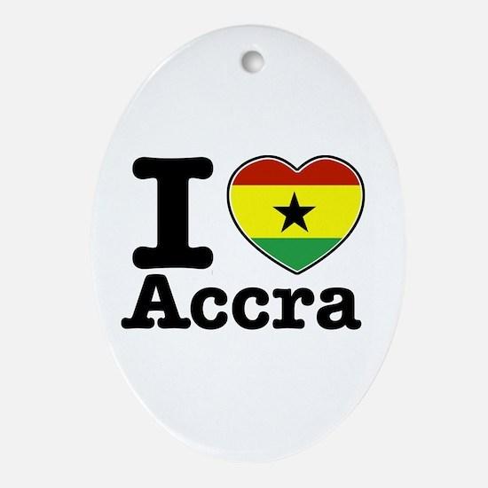 I love Accra Ornament (Oval)