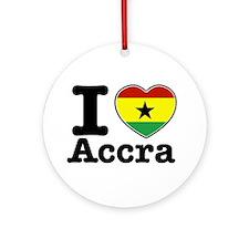 I love Accra Ornament (Round)