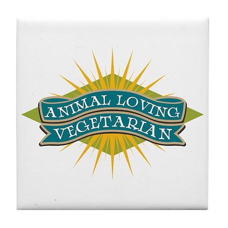 Animal Loving Vegetarian Tile Coaster
