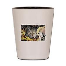 wolf howling Shot Glass