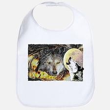 wolf howling Bib