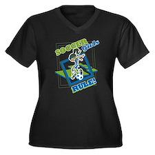 Soccer Girls Women's Plus Size V-Neck Dark T-Shirt