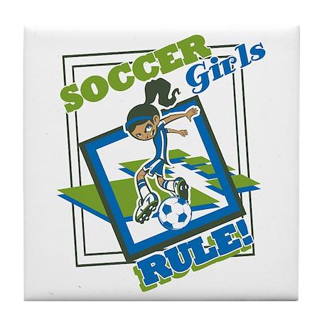 Soccer Girls Rules Tile Coaster