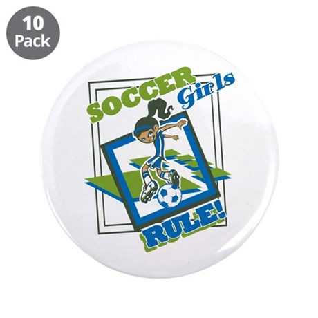 "Soccer Girls Rules 3.5"" Button (10 pack)"