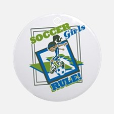 Soccer Girls Rules Ornament (Round)