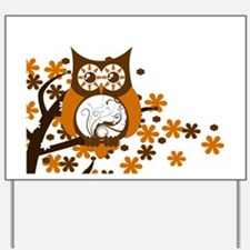 Brown Swirly Owl in Tree Yard Sign
