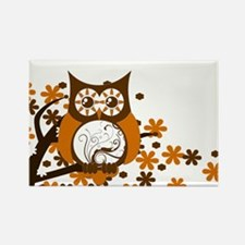 Brown Swirly Owl in Tree Rectangle Magnet
