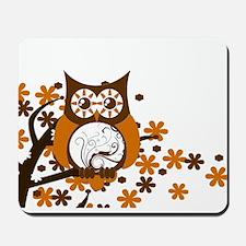 Brown Swirly Owl in Tree Mousepad