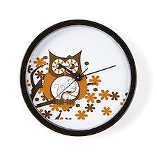 Brown Swirly Owl in Tree Wall Clock