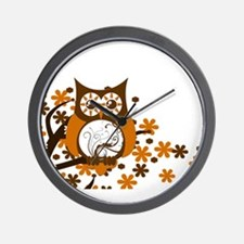 Brown Swirly Owl in Tree Wall Clock