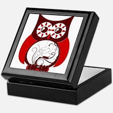 Red Swirly Owl Keepsake Box