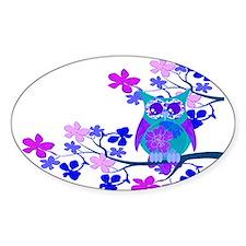 Aqua Hibiscus Owl in Tree Decal