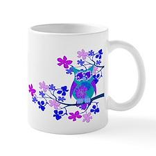 Aqua Hibiscus Owl in Tree Mug