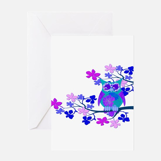 Aqua Hibiscus Owl in Tree Greeting Card