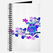Aqua Hibiscus Owl in Tree Journal