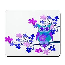 Aqua Hibiscus Owl in Tree Mousepad
