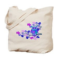 Aqua Hibiscus Owl in Tree Tote Bag