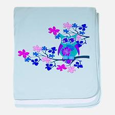 Aqua Hibiscus Owl in Tree baby blanket