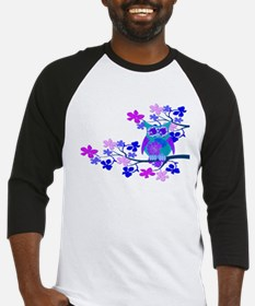 Aqua Hibiscus Owl in Tree Baseball Jersey